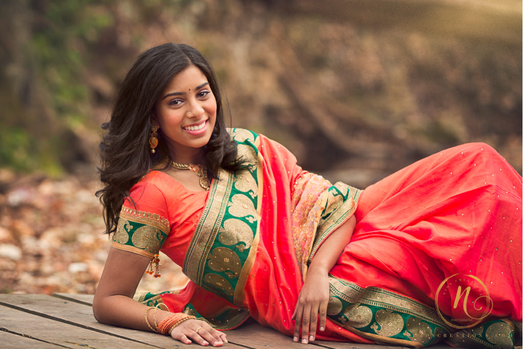 high school senior girl in a sari
