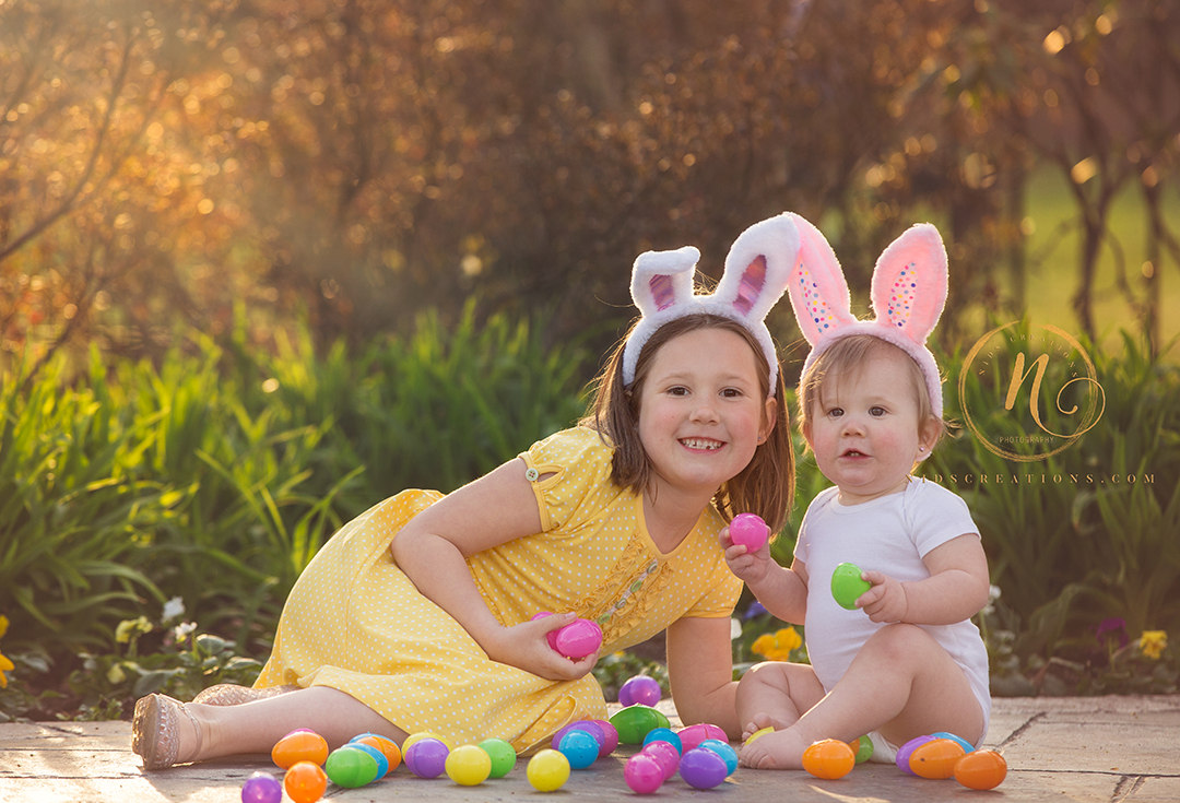 Easter themed photo session with two sisters