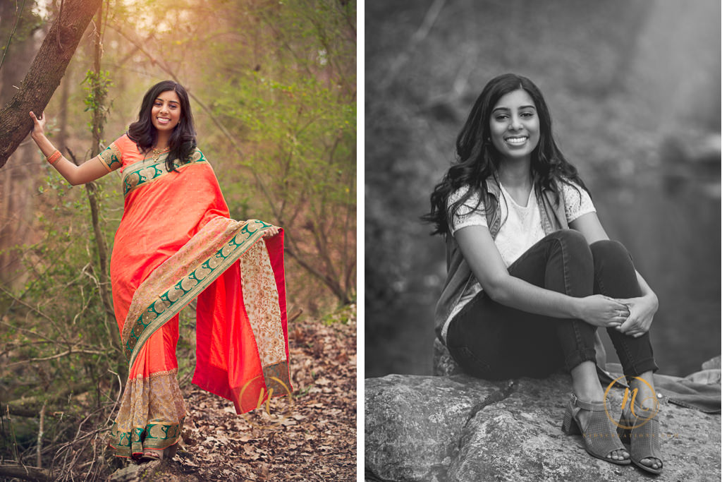 high school senior girl wearing a sari